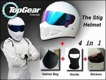 Blanc Casque + Capot Chapeau + Autocollants + Sac Pour Top Gear STIG Casque Coloré Visière/comme SIMPSON Porc/Moto/TopGear Utiliser