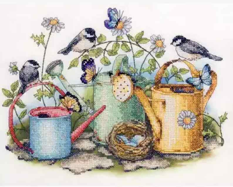 Gold Collection Lovely Counted Cross Stitch Kit Birds Bird Nest Butterflies Butterfly and Watering Pot Garden