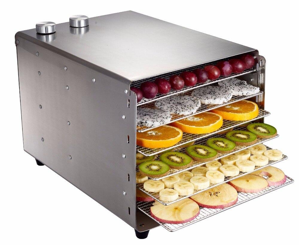 6 лотков Дегидратор нержавеющая сталь закуски Дегидратор фрукты овощи травы мясо сушильные машины