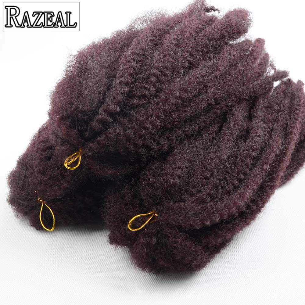 Razeal 18Inch Synthetic Braiding Hair Afro Marley Braid Hair Natural Black Crochet Hair Extension 60grms High Temperature