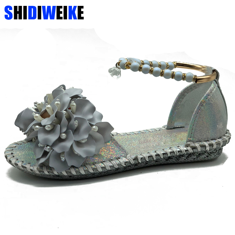 2018 new PU leather Flower summer flat sandals fashion beaded womens shoes Ankle Wrap sandals m803