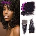 10А Класс Странный Вьющиеся Бразильской Волосы С Закрытием Необработанные Вьющиеся Волосы Девственницы 3 Связки afro kinky вьющихся волос с закрытием