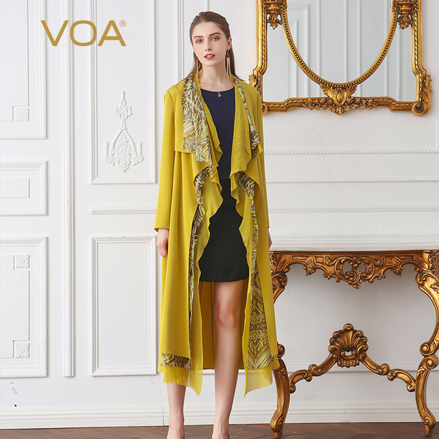 VOA Yellow Heavy Silk Trench Coat Women Plus Size 5XL Printed Ruffle Casual Cardigan Long Sleeve Boho Windbreaker Fall FLA00701
