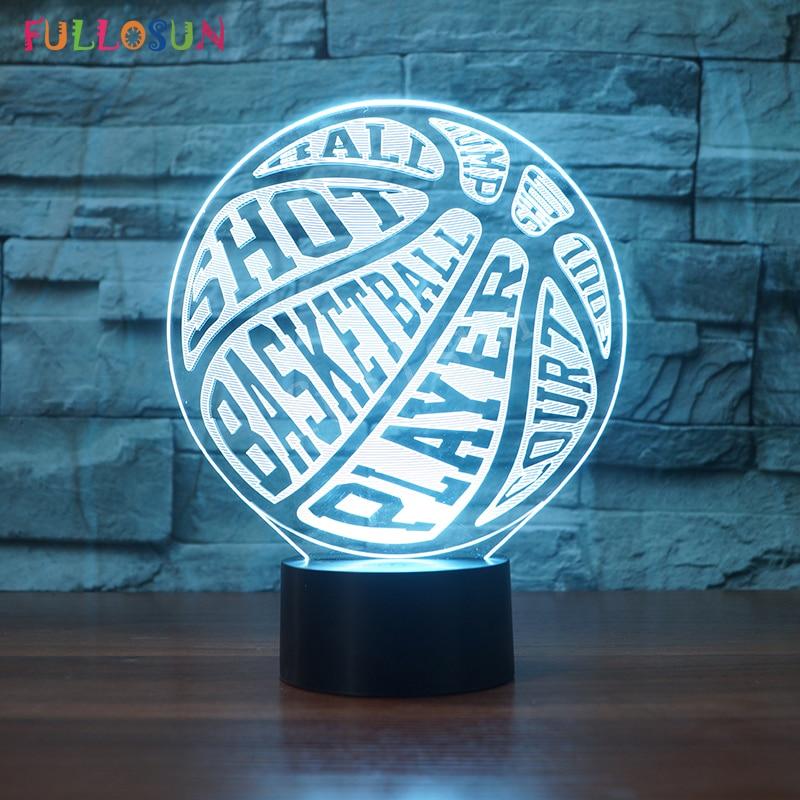 Dropshipping 3D Basketball Night Light Colorful LED Table Lamp Kids Children Novelty Gift for Living Room Decoration Lamp