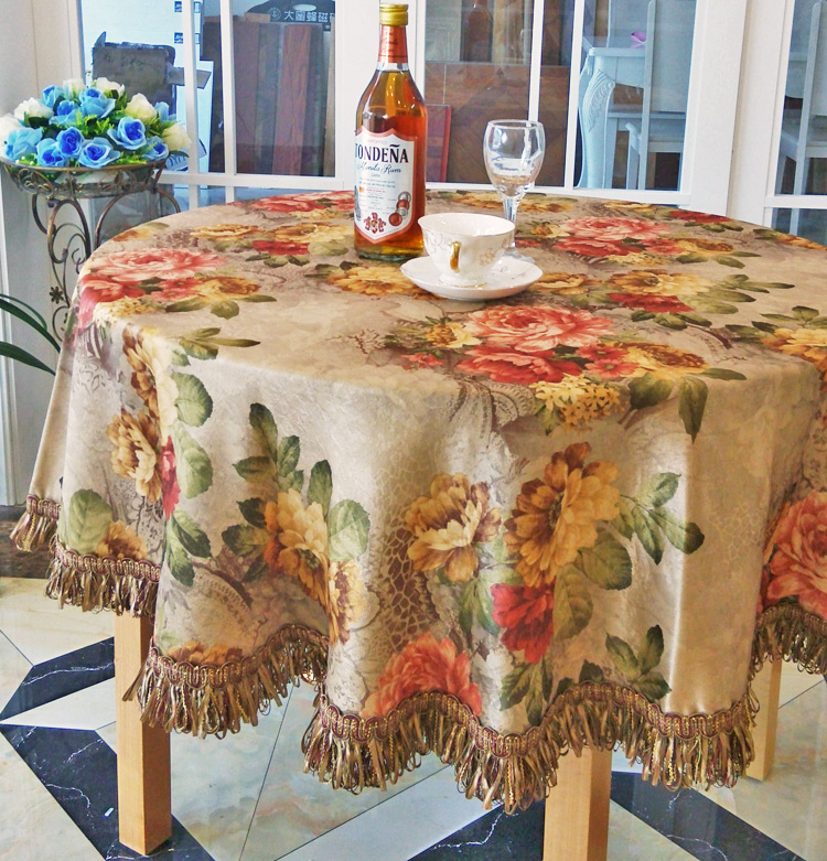 Upper End Brocade Fabric Round Tablecloth Patterned