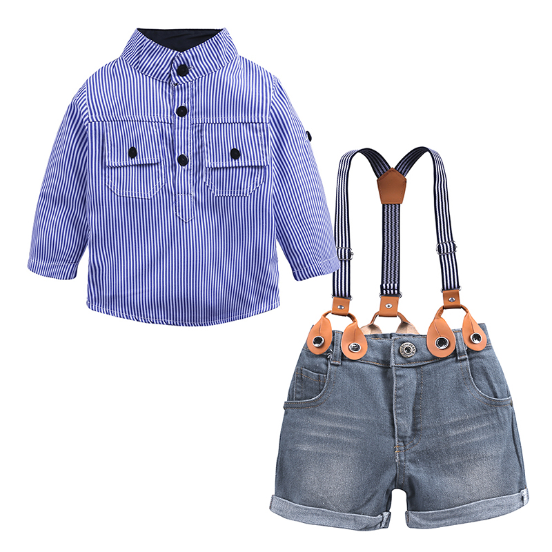 2PCS Baby Boys Gentleman Shirt Tops Suspender Jeans Shorts Kids Clothes Outfits
