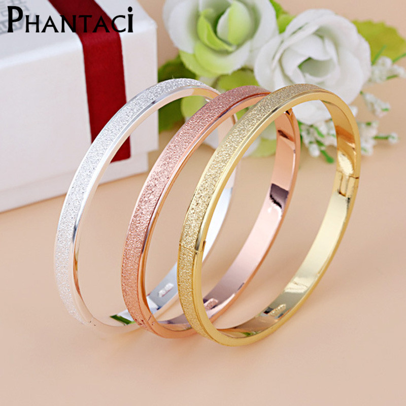 Female Frosted Love Bangle Hot Luxury Dust Cuff Bracelets&Bangles Brand Buckle Bracelet For Women Gift Jewelry Wholesale 2016