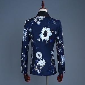 Image 2 - PYJTRL Brand 2018 Tide Men Navy Blue Floral Print Fashion Casual Suits Latest Coat Pant Designs Wedding Groom Stage Costume