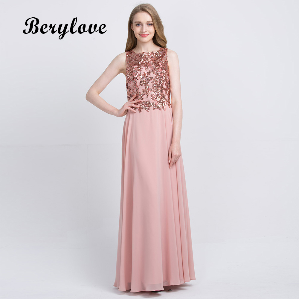 BeryLove Blush Pink Evening Dresses 2018 Long Sequin Chiffon Evening ...