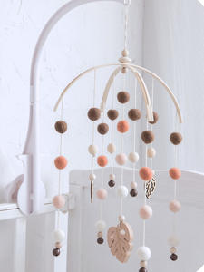 Bopoobo Rattles Hanging-Decor Bird Wool Balls Silicone Beads Beech-Wood Children-Products