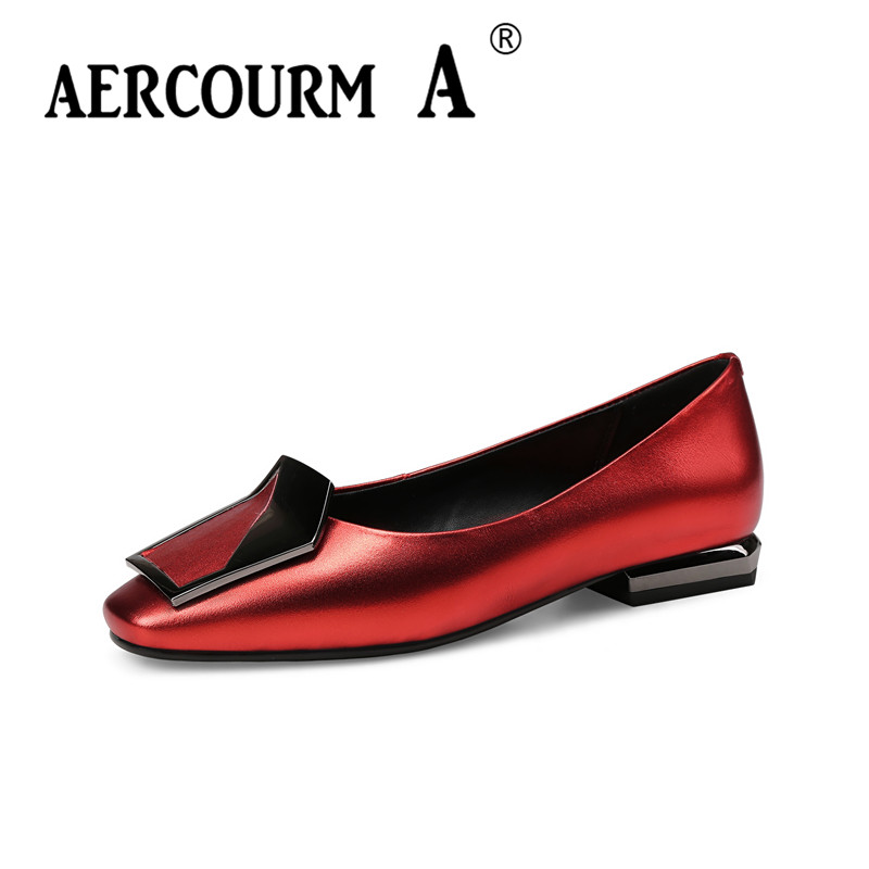 Aercourm A 2018 Woman Low Heels Shoes Lady Metal Buckle Pumps Genuine Leather Shoes Square Head Red Black Leisure Shoes HYT825 aercourm a women black pumps 2018 spring high heels shoes woman shoes genuine leather square head rivet pointed shoes dtn8 1