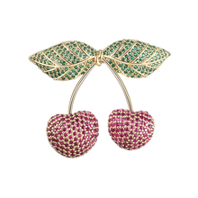 Cute Delicate Copper Brooch Two Red Cherry Green Leaves Copper Zircon Brooch Pin Dress Backpack Jewelry Accessories High Quality 0 7 200mm high quality copper strip sheet skin red copper purple copper foil copper plate