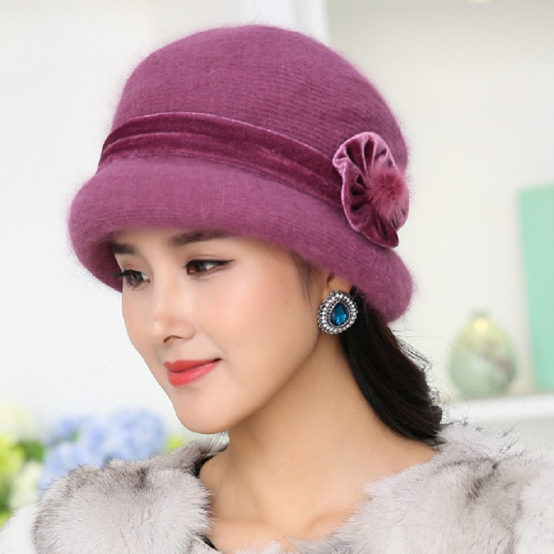 Winter Women Floral Skullies Soft Wool Mixed Rabbit Fur Hat Warm Knitted Beanies Baggy Headwear Cap Bonnet Femme Hiver knitted winter warm female hat rabbit fur beanie cap woman chunky baggy cap skull gorros de lana mujer bonnet femme beanies cap