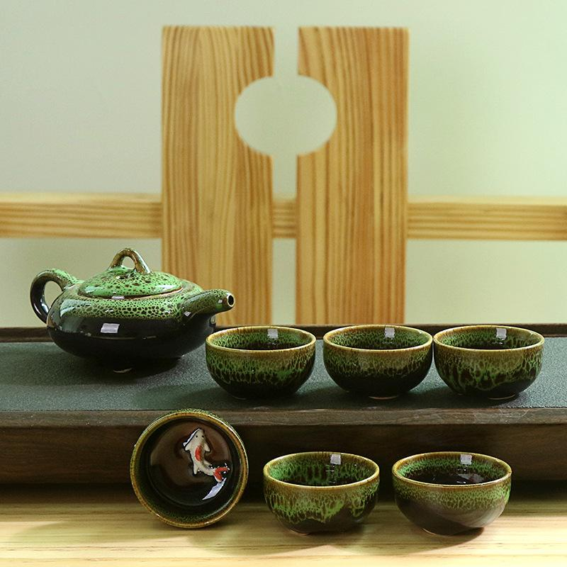 Chinese Style Traditional xquisite Ceramic Teapot Fish Pattern Tea Cup Porcelain Chinese Kung Fu Tea Set Drinkware with Gift Box
