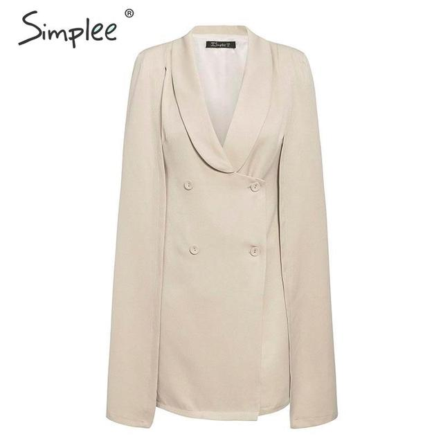 Simplee Vintage cloak blazer women dress Office ladies v neck shawl sleeveless dress female Solid celebrity party dress vestidos 4