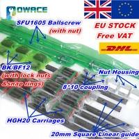 [Ue/eua/ru] 6 conjuntos de guia linear quadrado L 400/700/1000mm & 3pc ballscrew 1605 400/700/1000mm com porca & 3 conjunto bk/b12 & acoplamento nut set eu us us eu -