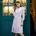 Veri Gude Women Long Striped Dress Cotton Shirtdress Lace Patchwork Notches Cut