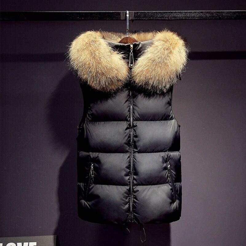 2016 coletes das mulheres nova jaqueta de inverno grande real gola de pele de guaxinim feminino curto moda quente sólida com capuz colete de pele marrom - 2