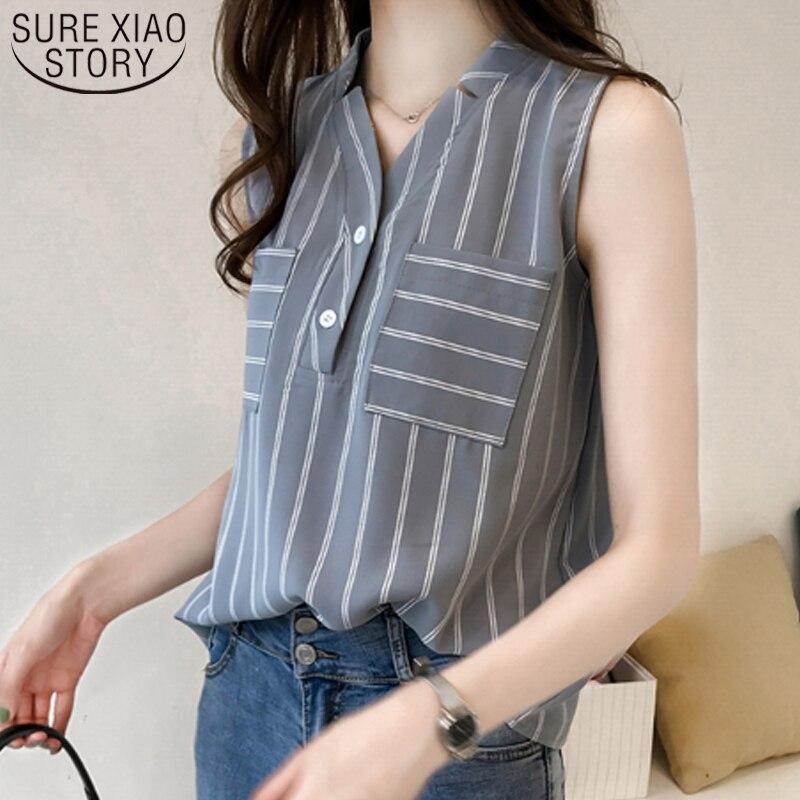 Striped Shirt Top 2019 Women Fashion Sleeveless Chiffon Blouse Female Summer Big Code Loose Size Outside Wearing Pattern 3705 50