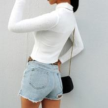 дешево!  Fitshinling Fuzzy Patchwork Зимний укороченный топ Женская футболка Водолазки с длинным рукавом Белы