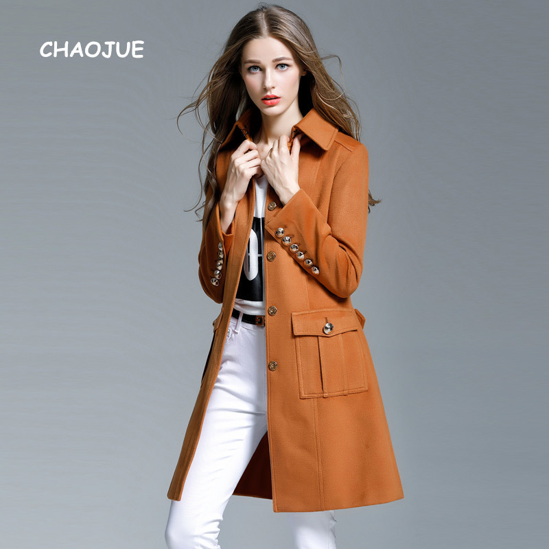 CHAOJUE Brand Middle Length Fashion Coat Female Slim Fit Covered Button Winter Outwear Womens High Quality Camel Woolen Coats