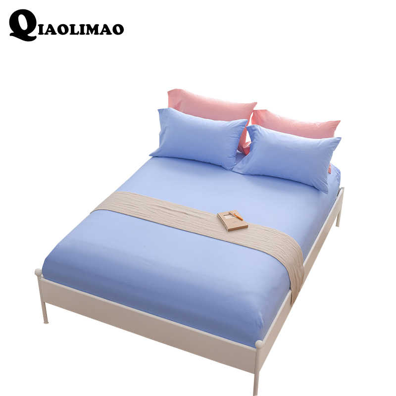 New 100% Cotton Bed Sheet Solid Color Fitted Sheet With Rubber Band Satin Sheets on An Elastic Band Hot Sale Bed Linen 140X200CM