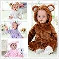 Baby girl одежда 2016 Новый Милые Животные С Длинным Рукавом С Капюшоном Фланель Новорожденный Ползунки Baby boy Одежда