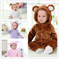baby girl clothes 2016 New Cute Animal Long Sleeve Hooded Flannel Newborn Baby Romper Baby boy  Clothes