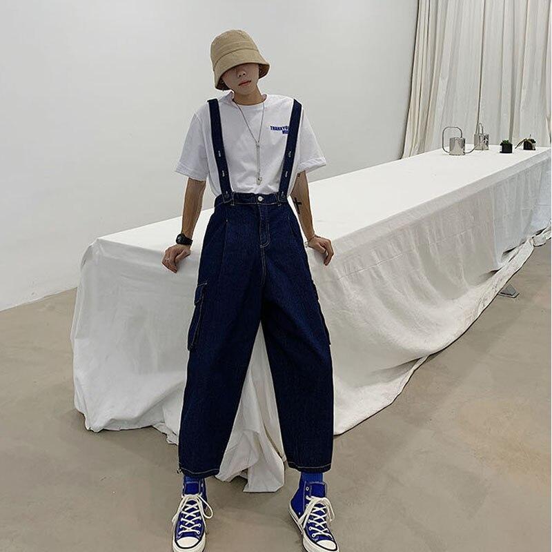 Men Vintage Fashion Loose Casual Wide Leg Denim Pants Cargo Jeans Overalls Male Streetwear Hip Hop Bib Harem Jumpsuit Trousers