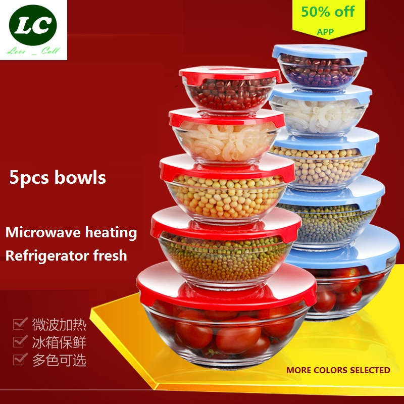 free shipping glass bowls 5pcs/set mixing bowl Heat-resistant glass - Kitchen, Dining and Bar
