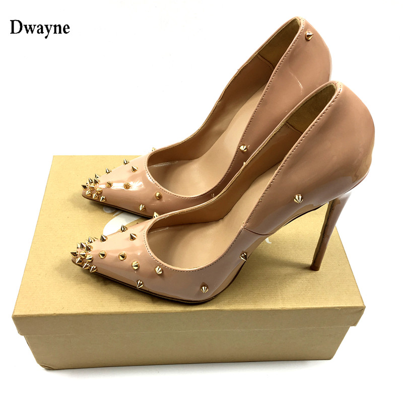 Brand Sexy Shoes Woman High Heels Beige Wedding Shoes Pumps Rivets Pointed Toe Women Shoes 12CM Heels Woman Pumps Ladies Shoes brand womens shoes high heels women pumps 12cm heels blue shoes woman pumps sexy pointed toe high heels wedding shoes b 0056