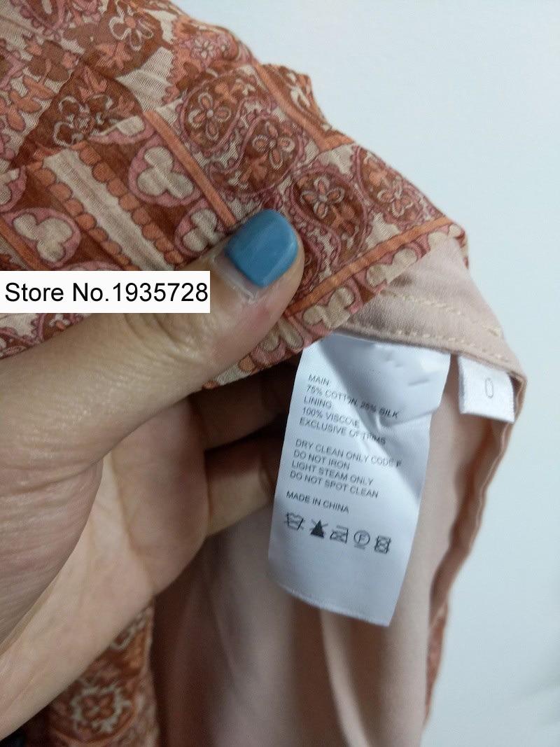 Froissé Taille Imprimer Jupe Chemise Soie De Avec Paisley Haute Show Coton Et Panneau Top Bouton Froncé As Maxi Primevère XqAwtSv