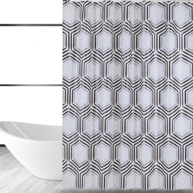 Moderne Grijs Hexagon Patroon Ontwerp Douchegordijn Badkamer