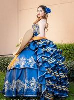 Quinceanera Dresses Blue Ball Gown Sweetheart Ruffle Prom Dress Charro Sweet 16 Dress Puffy Traditional Quinceanera Mexican 201