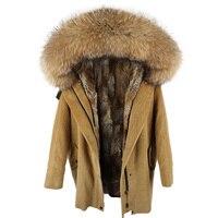 winter Natural rabbit fur lining jacket coat Women parka fur coat Corduroy real raccoon fur collar warm Long parkas