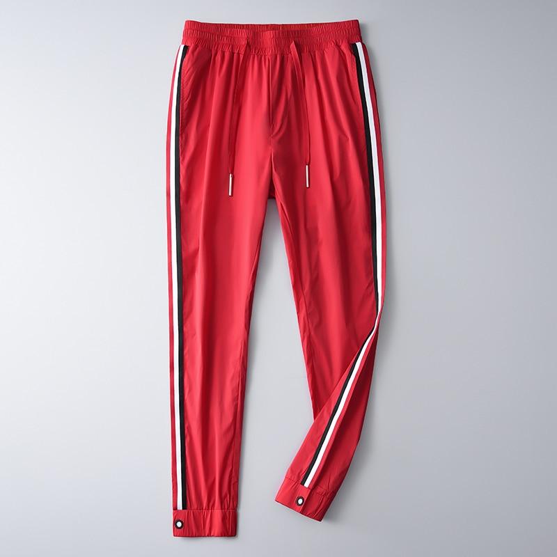 Image 2 - Мужские брюки Minglu, летние мягкие облегающие брюки с  ленточками, контраст цветов, Размер 4XLПовседневные брюки   -