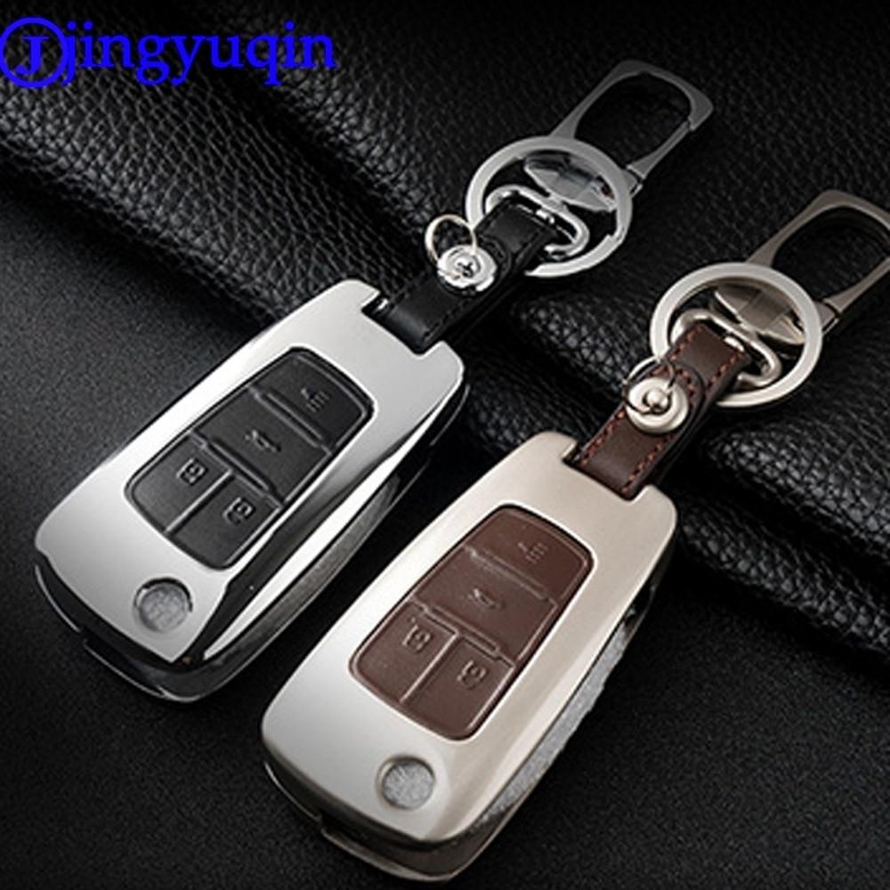 Jingyuqin 4 Botões de Liga de Zinco + Caso Capa de Couro Para - Acessórios interiores do carro