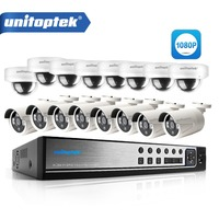 UNITOPTEK 1080P AHD 16CH CCTV Camera System Kit 16 Channel AHD DVR Recorder+IR Outdoor Bullet/Dome 2MP AHD Camera System