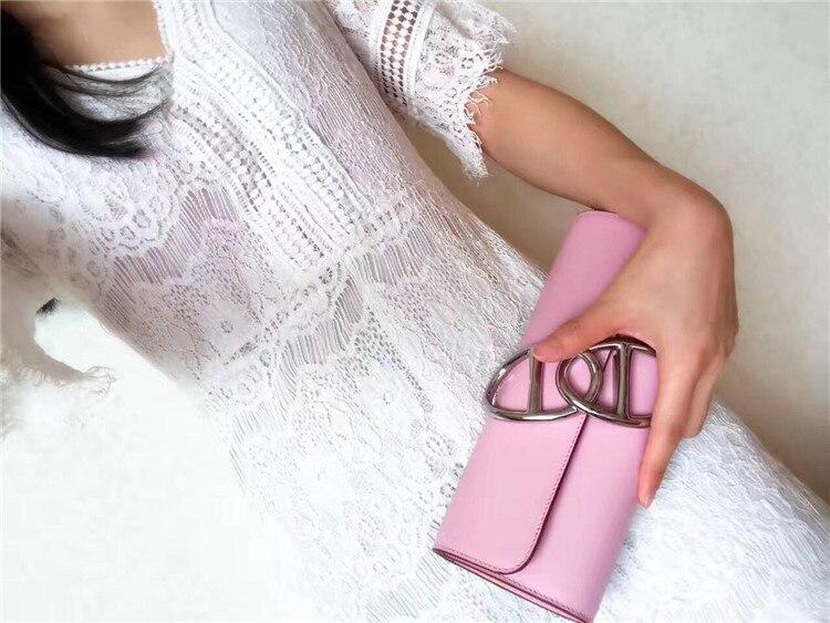 Designer Top Qualität Leder Marke Wa0122 Berühmte Echt Klassische Weibliche Runway Handtasche Mode Luxus Frauen 100 Geldbörsen BTBwxF74Uq