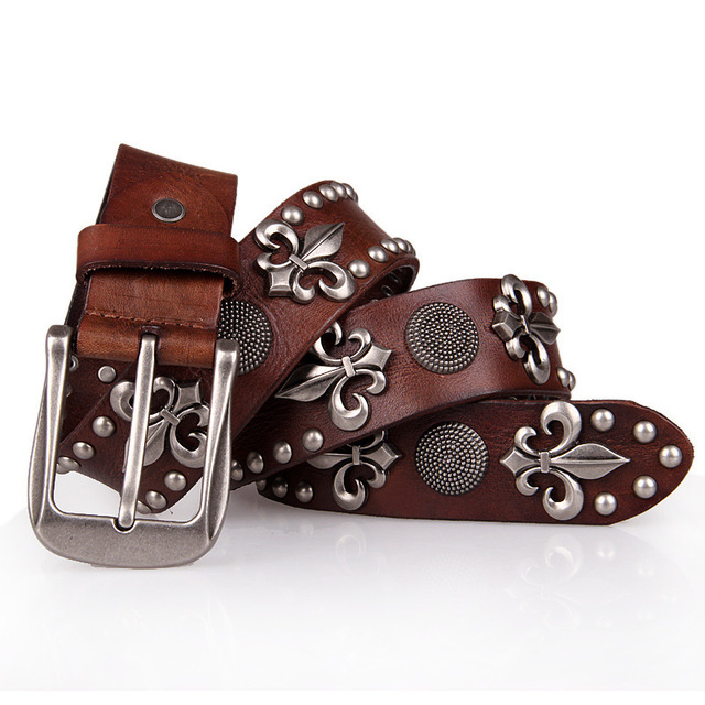 2015 men  steel punk young  boy  anchor rivet  top  genuine cow leather  belt