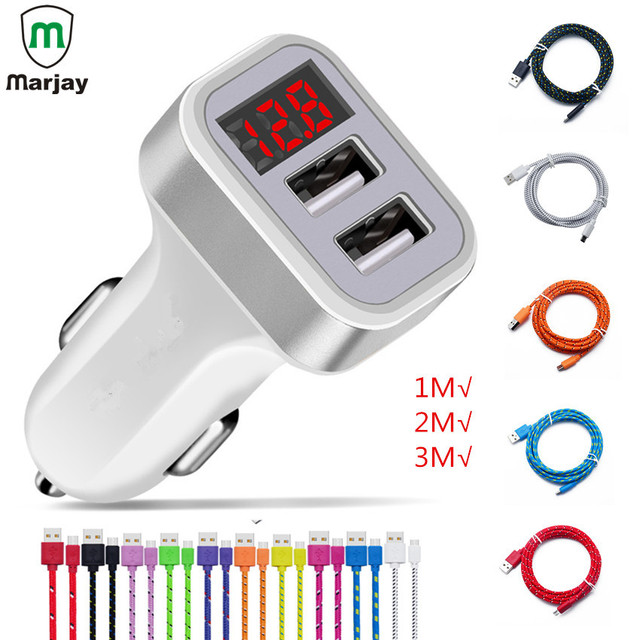 Universal Dual USB Car Charger LED Digital Display