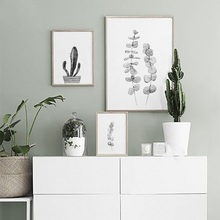 Unframed Black White Leaf Cactus Canvas Painting Nordic Scandinavian Posters Prints Wall Art for Living Room Home Decor