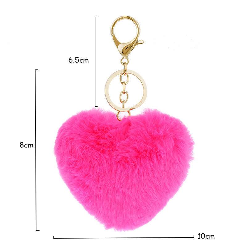 Moda Pompom Keychanins Imitação De Peles Saco de Chaveiro Para As Mulheres do Encanto do coração chaveiro coelho Chaveiro
