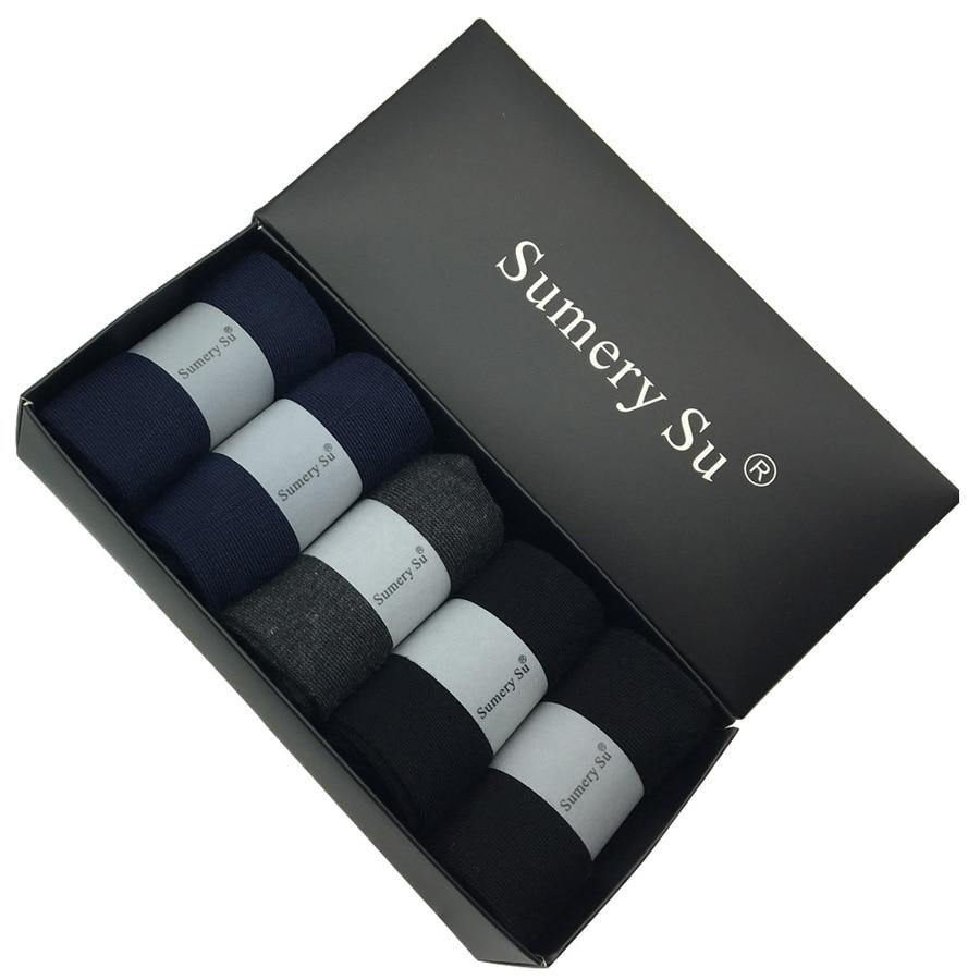 5 párů / Lot ponožky Pánské šaty Svatba Bavlna Jednobarevné Černá Značka Móda Meias Muž Prodyšné Ponožky Příležitostné
