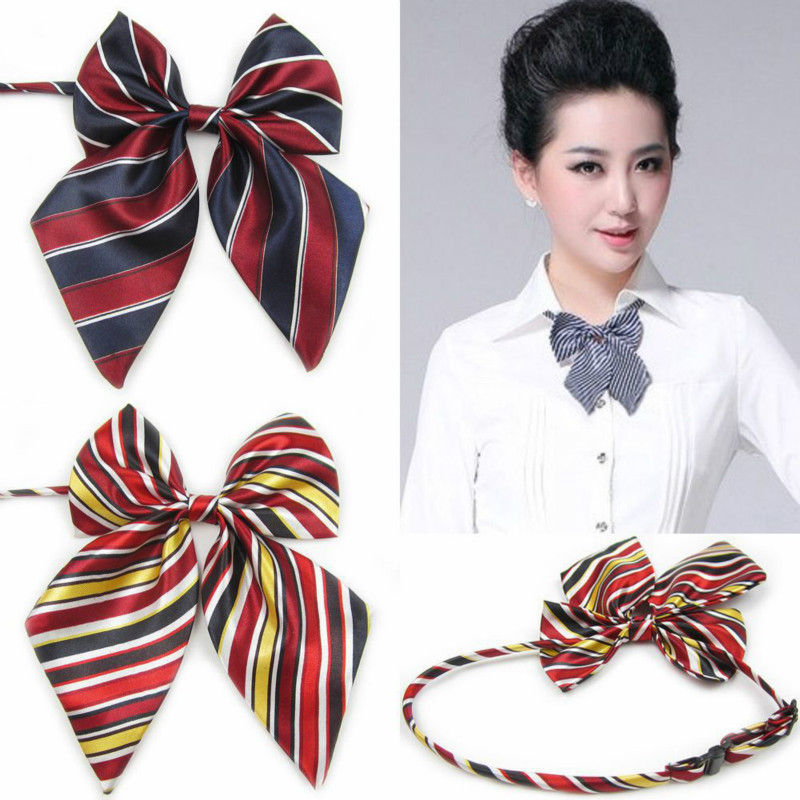 Hot Sale Bow Tie For Women High School Girl Student Cosplay Uniform Formal Suit Accessories Cravat Butterfly Knot Striped