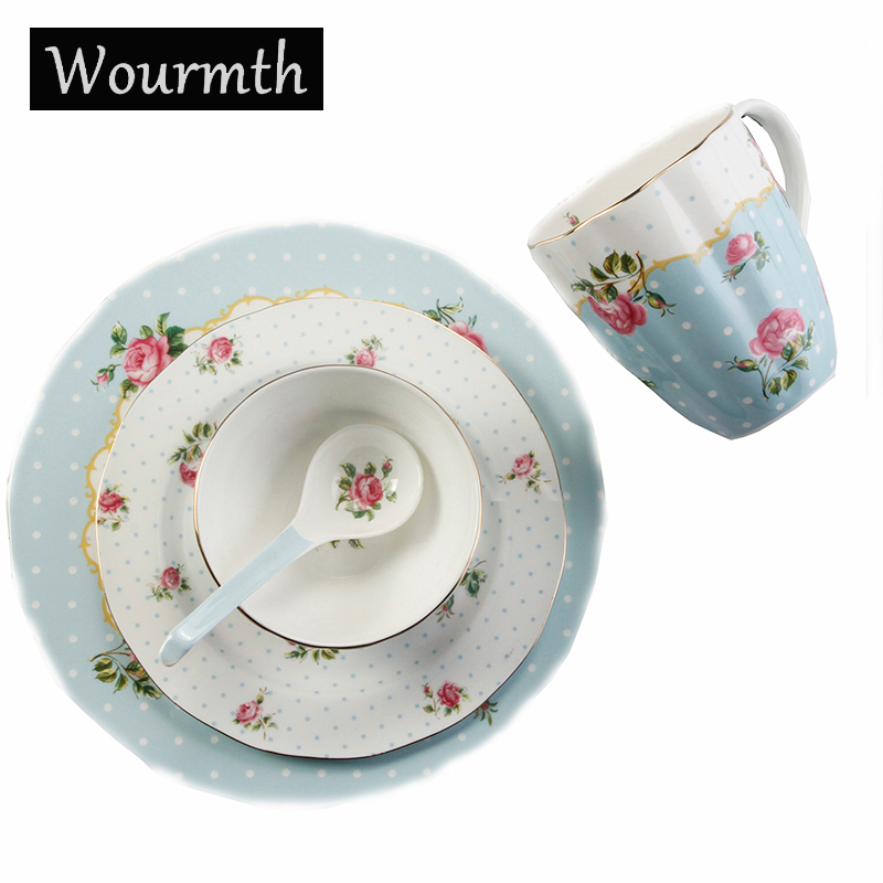 Wourmth European Bone China Cutlery Set 5 Pieces Set Dish Cups Western Plate Ceramic Dinner Plates
