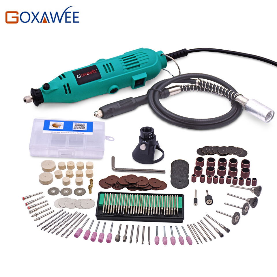 GOXAWEE 220V Electric Drill Variable Speed Rotary Tool Mini Drill with Flex Shaft and 180pcs accessories for Dremel Power Tools  tungfull 130w dremel style electric rotary tool variable speed mini drill with flexible shaft and 124pc accessories power tools