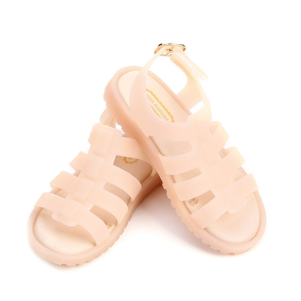 Mini Melissa Children Fashion Summer Kids Casual Hollow Striped Buckle Etal Princess Clear Clogs Mules Girls Jelly Shoes Sandals
