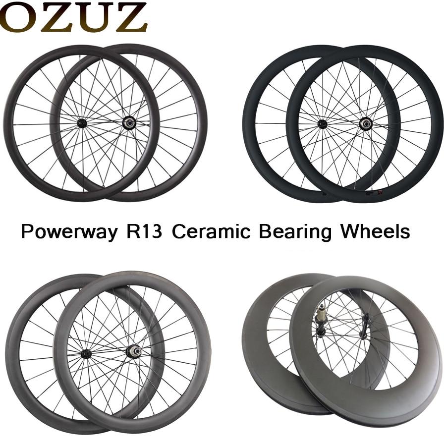 Free Custom OZUZ 700C Wheelset Powerway Ceramic Bearing Hub 24mm 38mm 50mm 88mm Clincher Tubular Carbon Road Bike Bicycle Wheels