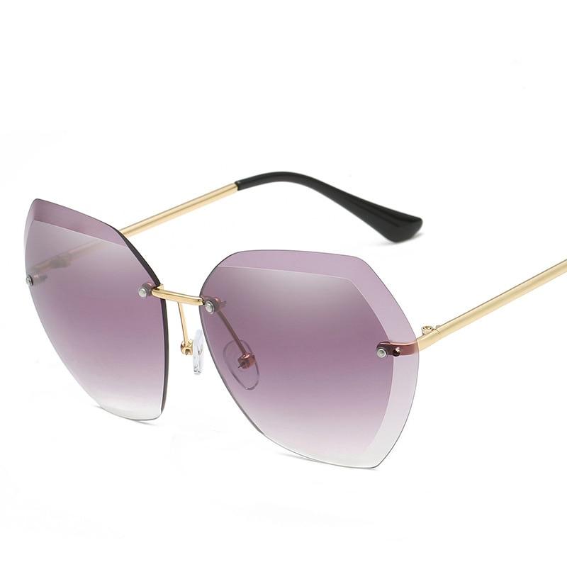 New Designer Rimless Sunglasses Women High Quality Luxury Brand Vintage Sun Glasses for Female Gift